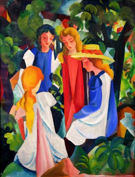 Blue Dress Painting - Digital Remastered Edition - Four Girls by August Macke