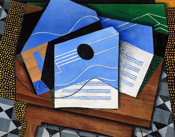 Wall Art - Painting - Digital Remastered Edition - Guitar On The Table by Juan Gris