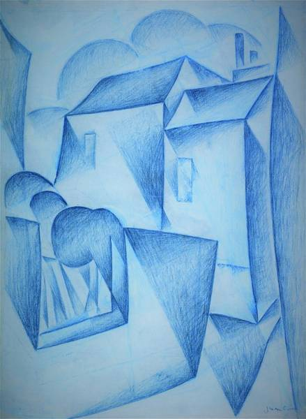 Wall Art - Drawing - Digital Remastered Edition - Houses In Paris, Place Ravignan - Original Blue by Juan Gris