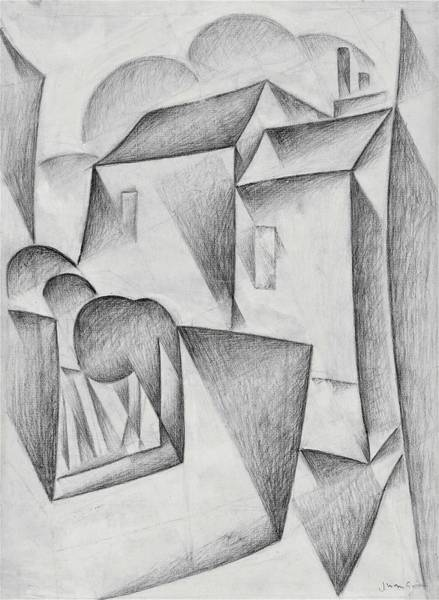 Wall Art - Drawing - Digital Remastered Edition - Houses In Paris, Place Ravignan - Original White by Juan Gris