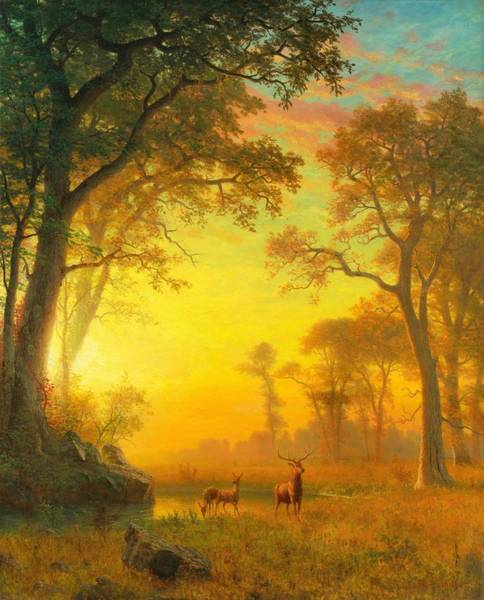 Wall Art - Painting - Digital Remastered Edition - Light In The Forest by Albert Bierstadt