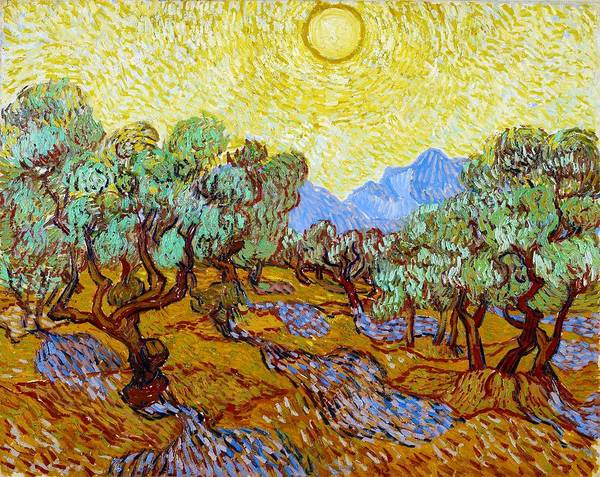 Wall Art - Painting - Digital Remastered Edition - Olive Trees With Yellow Sky And Sun by Vincent van Gogh
