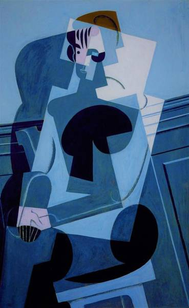 Wall Art - Painting - Digital Remastered Edition - Portrait Of Josette Gris - Original Blue by Juan Gris