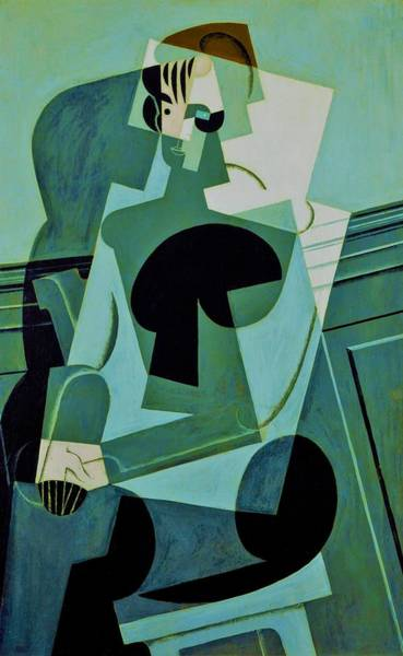 Wall Art - Painting - Digital Remastered Edition - Portrait Of Josette Gris - Original Green by Juan Gris