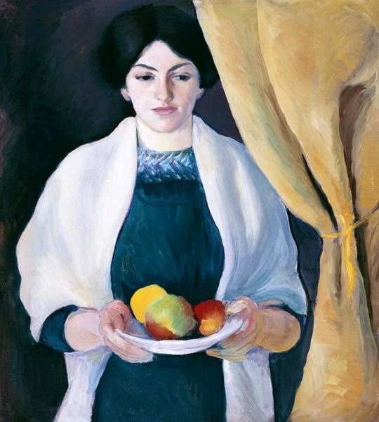 Wall Art - Painting - Digital Remastered Edition - Portrait With Apple by August Macke