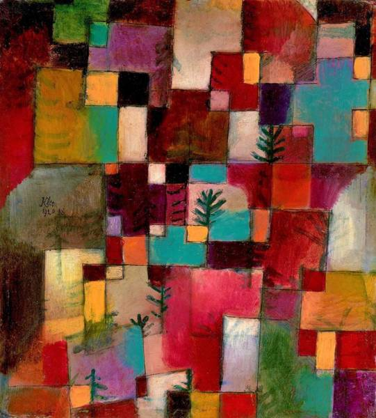Color Block Painting - Digital Remastered Edition - Red Green And Violet Yellow Beat by Paul Klee