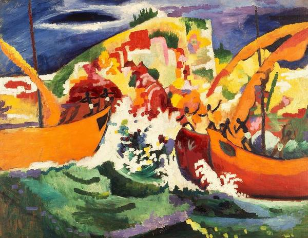 Abstract People Painting - Digital Remastered Edition - Sea Battle Of Indigenous People by August Macke