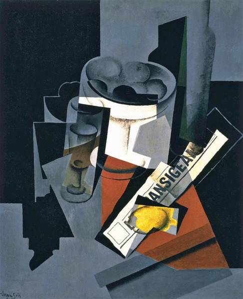 Wall Art - Painting - Digital Remastered Edition - Still Life Of Newspaper by Juan Gris