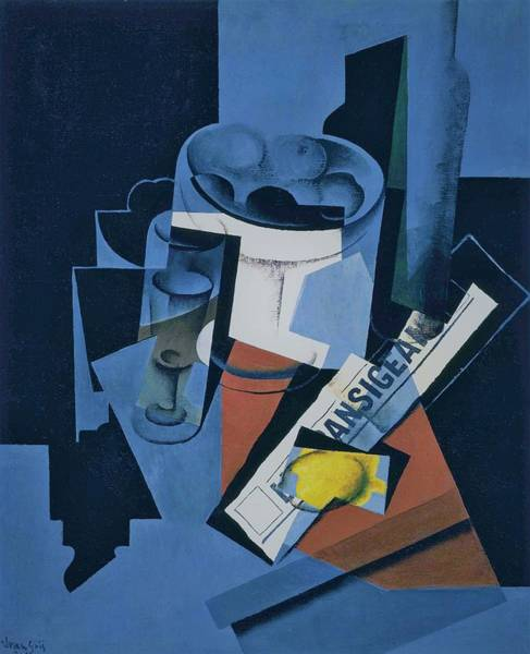 Wall Art - Painting - Digital Remastered Edition - Still Life Of Newspaper - Original Blue by Juan Gris
