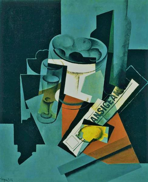 Wall Art - Painting - Digital Remastered Edition - Still Life Of Newspaper - Original Green by Juan Gris