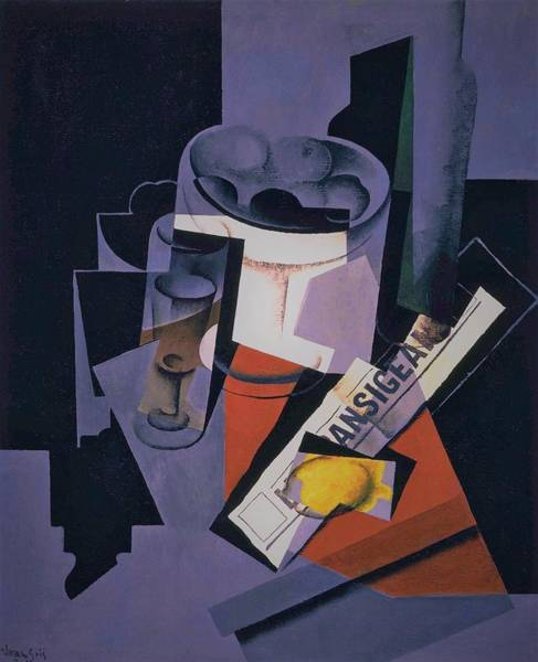 Wall Art - Painting - Digital Remastered Edition - Still Life Of Newspaper - Original Purple by Juan Gris