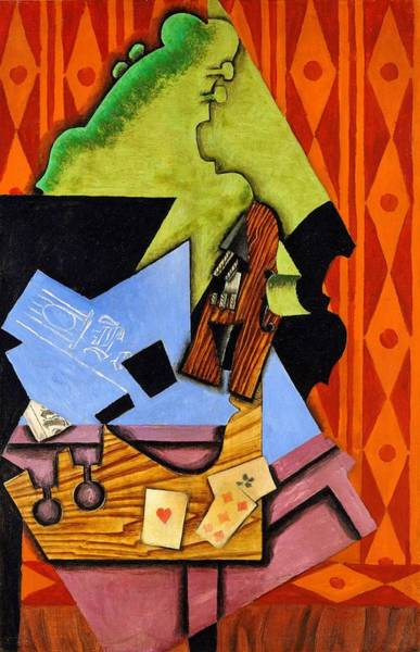 Wall Art - Painting - Digital Remastered Edition - Violin And Playing Cards On A Table by Juan Gris