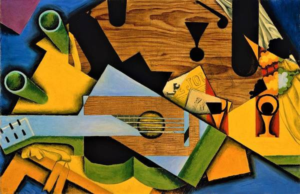 Wall Art - Painting - Digital Remastered Edition - Still Life With A Guitar by Juan Gris