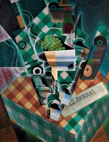 Wall Art - Tapestry - Textile - Digital Remastered Edition - Still Life With Checked Tablecloth by Juan Gris