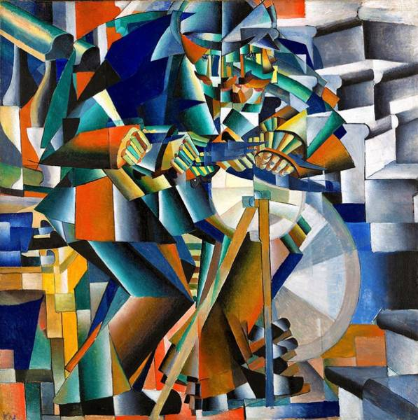 Wall Art - Painting - Digital Remastered Edition - The Knifegrinder by Kazimir Severinovich Malevich