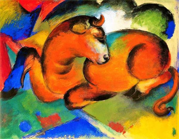 Franz Painting - Digital Remastered Edition - The Red Bull by Franz Marc