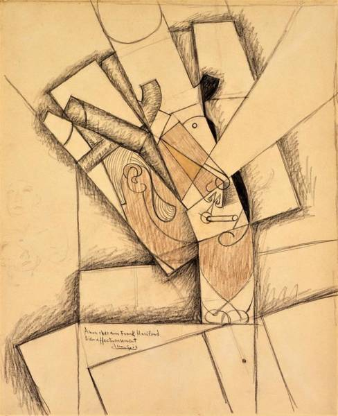 Crayon Drawing - Digital Remastered Edition - The Smoker by Juan Gris