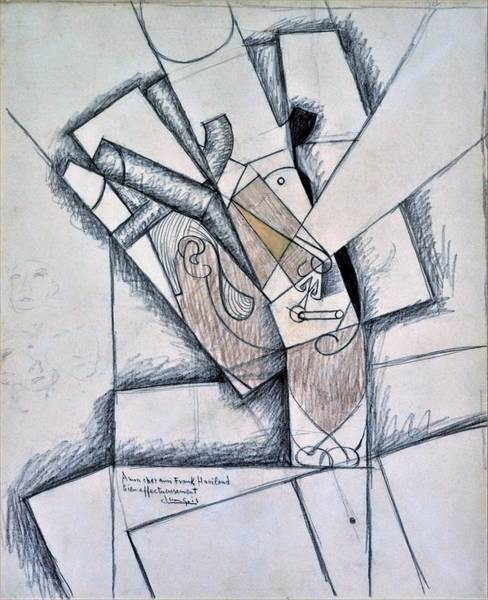 Gentleman Drawing - Digital Remastered Edition - The Smoker - Original White by Juan Gris