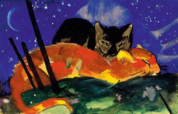 Franz Painting - Digital Remastered Edition - The Two Cats by Franz Marc