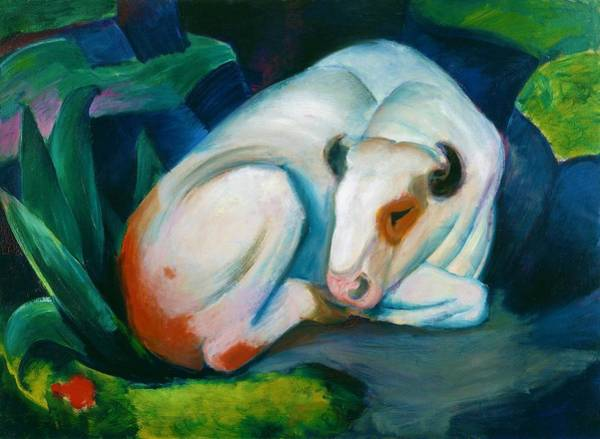 Wall Art - Painting - Digital Remastered Edition - The White Bull by Franz Marc