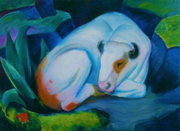 Wall Art - Painting - Digital Remastered Edition - The White Bull - Original Blue by Franz Marc