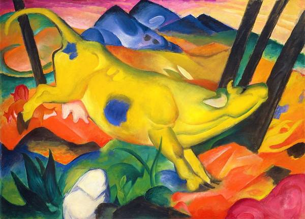 Wall Art - Painting - Digital Remastered Edition - The Yellow Cow by Franz Marc