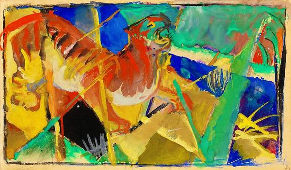 Wall Art - Painting - Digital Remastered Edition - Tiger In The Jungle by Franz Marc