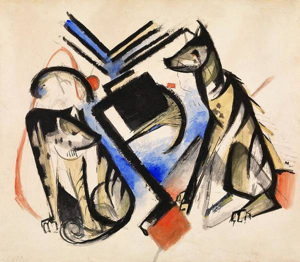 Franz Painting - Digital Remastered Edition - Two Wolves by Franz Marc