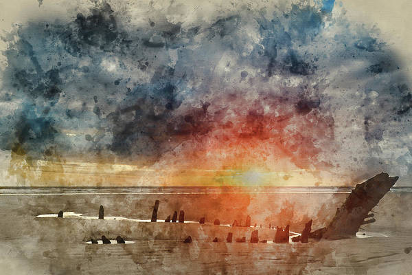 Wall Art - Photograph - Digital Watercolor Painting Of Beautiful Dramatic Sunset Landsca by Matthew Gibson