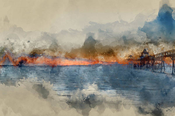 Wall Art - Photograph - Digital Watercolor Painting Of Beautiful Sunset Over Ocean With  by Matthew Gibson