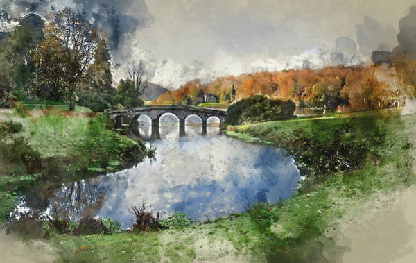 Stourhead Photograph - Digital Watercolor Painting Of Bridge Over Main Lake In Stourhea by Matthew Gibson