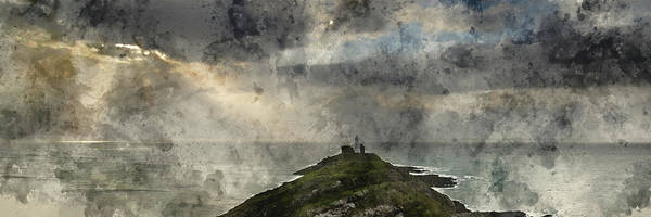 Wall Art - Photograph - Digital Watercolor Painting Of Landscape Panorama Of Mumbles Lig by Matthew Gibson