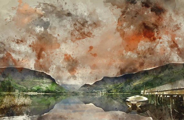 Wall Art - Photograph - Digital Watercolor Painting Of Llyn Nantlle At Sunrise Looking T by Matthew Gibson