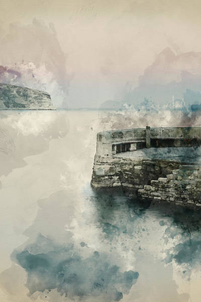 Wall Art - Photograph - Digital Watercolor Painting Of Peaceful Landscape Of Stone Jetty by Matthew Gibson