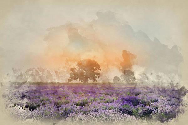 Lavender Mist Wall Art - Photograph - Digital Watercolour Painting Of Beautiful Dramatic Misty Sunrise by Matthew Gibson