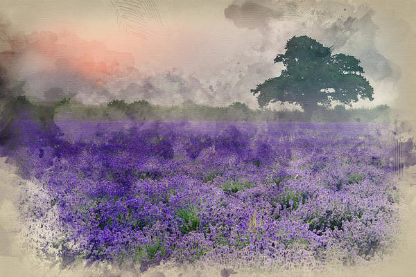 Lavender Mist Wall Art - Photograph - Digital Watercolour Painting Of Stunning Dramatic Foggy Sunrise Landscape Over Lavender Field In Eng by Matthew Gibson