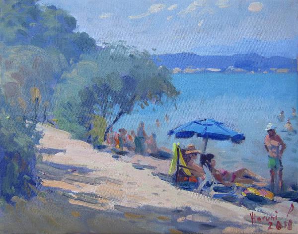 Wall Art - Painting - Dilesi Beach Athens  by Ylli Haruni