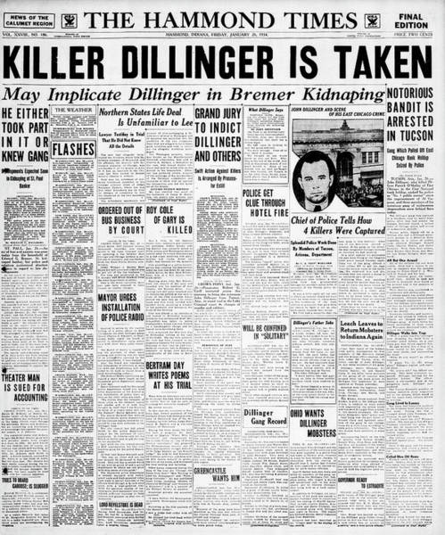 Wall Art - Photograph - Dillinger Captured Headline 1934 by Daniel Hagerman