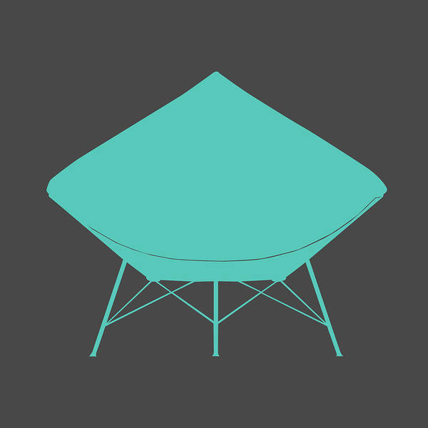 Mixed Media - Dimond Lounge Chair Teal by Naxart Studio