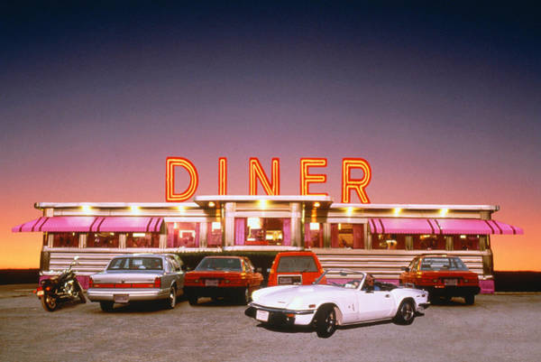 Kitsch Photograph - Diner At Twilight by Frank Whitney