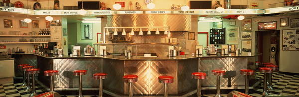 Bar Counter Photograph - Diner With 1950s Decor, Interior View by Rick Rusing