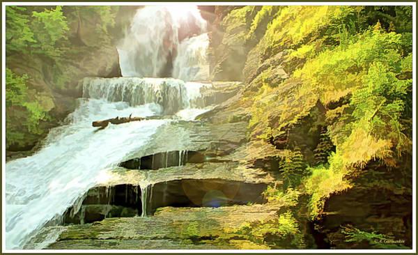 Digital Art - Dingman's Falls, Pocono Mountains, Pennsylvania by A Gurmankin