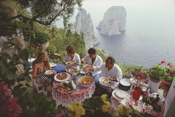 Actress Photograph - Dining Al Fresco On Capri by Slim Aarons