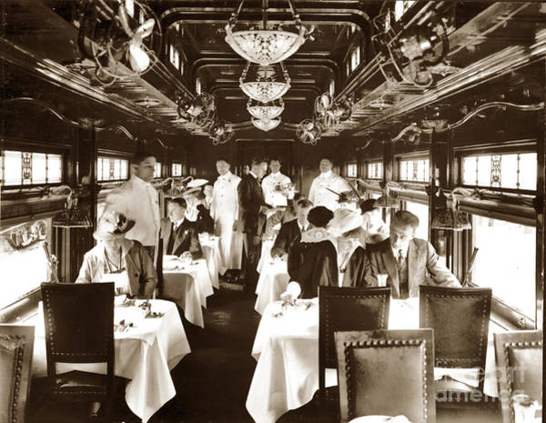 Photograph - Dining Car On California Limited Passenger Train Of The Atchison by California Views Archives Mr Pat Hathaway Archives