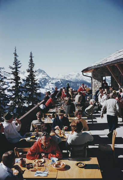Mountain Photograph - Dining In Gstaad by Slim Aarons