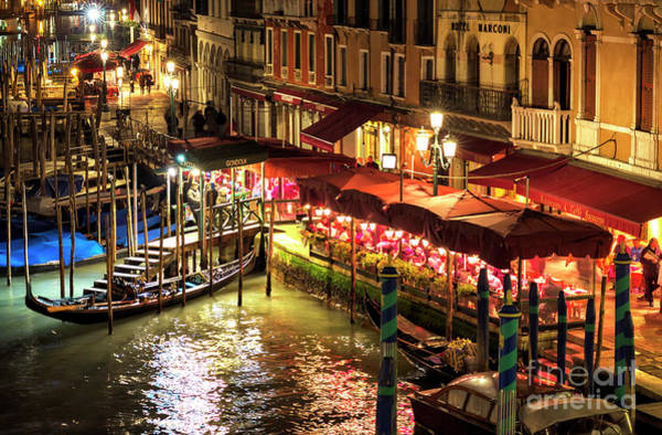 Photograph - Dinner On The Grand Canal At Night In Venice by John Rizzuto
