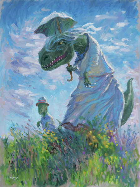 Digital Art - Dinosaur And Son With A Parasol  by Martin Davey
