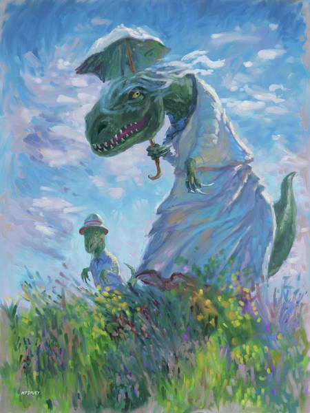 Wall Art - Digital Art - Dinosaur And Son With A Parasol  by Martin Davey