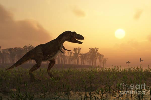 Standing Wall Art - Digital Art - Dinosaur In Landscape by Photobank Gallery