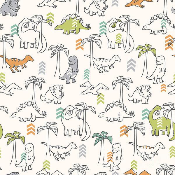 Palm Trees Digital Art - Dinosaur Pattern by Erica Truex